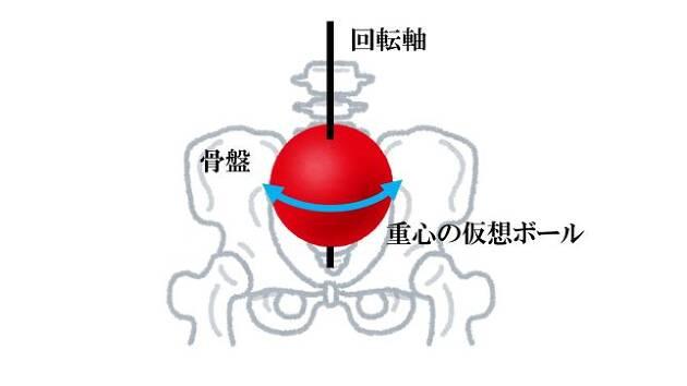 骨盤の中に仮想ボールを固定させて回す
