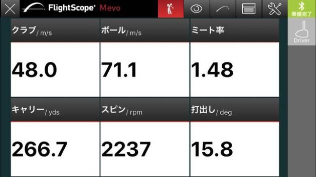 flightscope mevo(フライトスコープミーボ)でも計測しました
