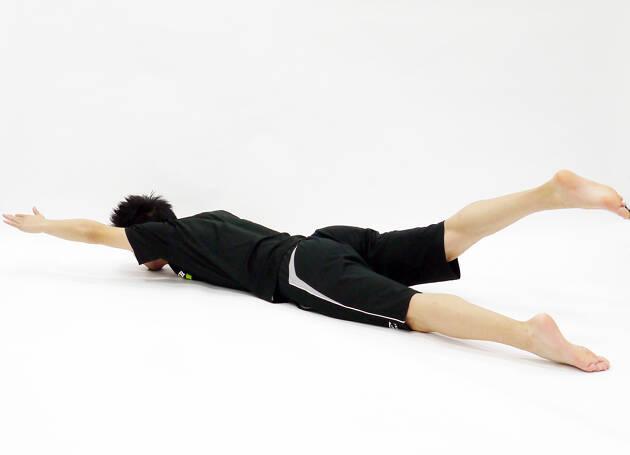 対角の手足を持ち上げるダイアゴナルバックレイズ